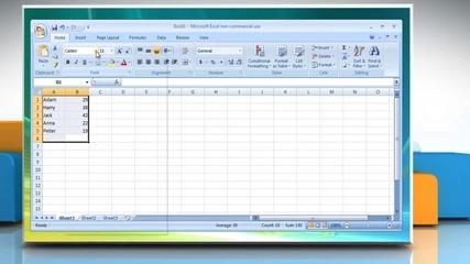 Microsoft® Excel 2007: How to change worksheet font or font size on Windows® Vista?