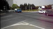 Калабалък на кръговото на входа на Бургас