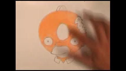Рисуване на Хоумър с поничка вместо глава