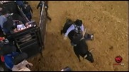 Ryan Mcconnel lands headfirst, save by bullfighter Jesse Byrne