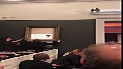 Картина на Банкси се самоунищожи, след като бе продадена на търг