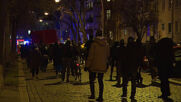 Germany: Antifa members protest against COVID deniers outside alleged meeting spot