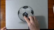 Страхотна реалистична рисунка на футболна топка!