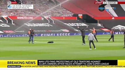 """Фенове на Манчестър Юнайтед щурмуваха """"Олд Трафорд"""", дербито ще се забави"""