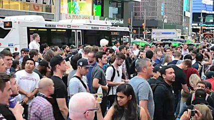 USA: Fans take over Times Square to watch UFC 299 presser