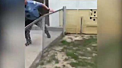 Търсен мъж бяга от задържане с акробатични номера