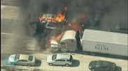 Wildfire Sweeps Across California Freeway, Burns Cars