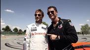 Кристиано Роналдо и Дженсън Бътън- екстремни моменти на пистата в Мадрид