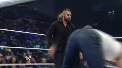 smackdown 18th july, 2014 seth rollins attacks dean ambrose during his match with kane