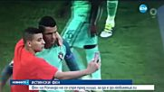 """СЛЕД УПОРИТО ПРЕСЛЕДВАНЕ: Фен """"открадна"""" от Роналдо прегръдка и селфи"""
