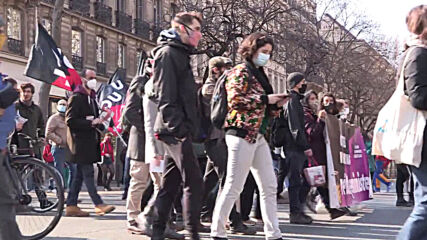 France: Protesters take to Paris streets for 'feminist strike' on International Women's Day