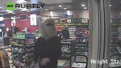 Knife Wielding Criminal Wearing a Mouse Head Robs Liquor Store