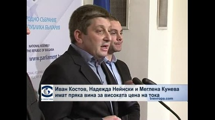 Иван Костов, Надежда Нейнски и Меглена Кунева имат пряка вина за високата цена за ток