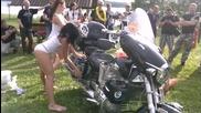 Hot sexy Ukrainian women in wet T-shirts bike wash