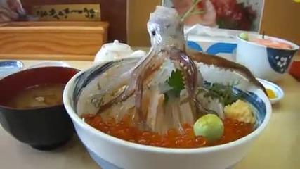 Странна японска храна, жив октопод?!