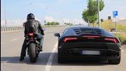 Honda C B R 1000 R R vs Lamborghini Huracan