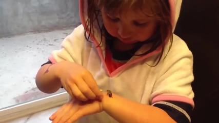 Момиченце си играе с пчела