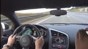 Много бързо каране по магистралата с Audi R8 V10 335 км/ч