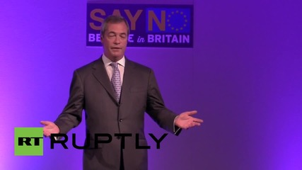 UK: PM Cameron is 'piggy in the middle,' says Farage at EU membership speech
