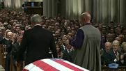 USA: George W Bush breaks down at father's funeral