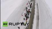 """Японски дрон заснема феномена """"снежна стена"""""""