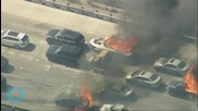 California Wildfire Envelopes Los Angeles Freeway Burning Vehicles