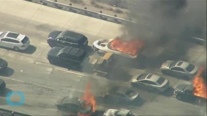 California Wildfire Envelopes Los Angeles Freeway Burning Vehicles
