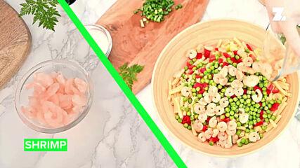 Супер бърза и лесна лятна салата със скариди и макарони