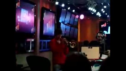 Justin Bieber playing trumpet in Paris