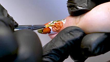 Идея за гел лак маникюр с рози и акварелни капки Kodi Professional
