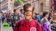 Italy: Students protest against Renzi's education reforms and EU austerity
