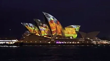 Australia: Sydney Opera House sails lit up in honour of firefighters