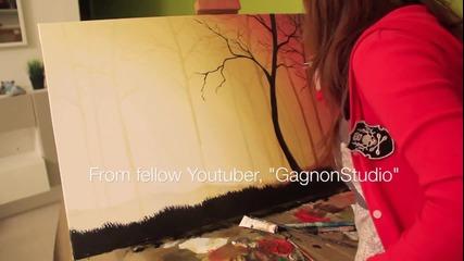 Момиче с талант рисува със залеза!