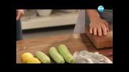Тарт с пресен лук и чедър, плодова салата, рибени пелмени с коприва - Бон Апети (25.04.2013)