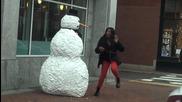 Подвижен снежен човек – Шега !