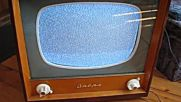 "listening radio on ""опера 3"" (old Bulgarian Tv set from early 1960's )"