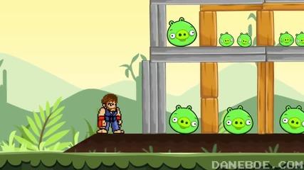 Чък Норис играе Angry Birds