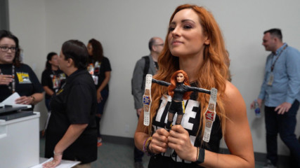 Becky Lynch receives a custom doll from Mattel at San Diego Comic-Con