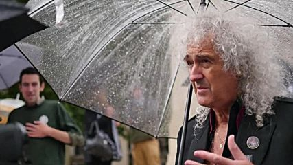 UK: Brian May unveils badger mosaic made of selfies in anti-cull demo