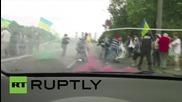 Ukraine: Masked men attack anti-Poroshenko demo