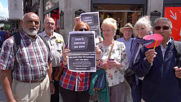 UK: Pensioners protest outside BBC offices over loss of free TV licence