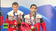 Azerbaijan: Russian wrestlers parade European Games gold medals