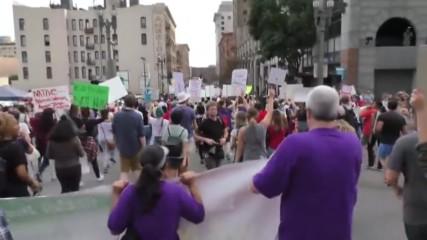 USA: Anti-Trump protesters march through LA in 5th day of protests