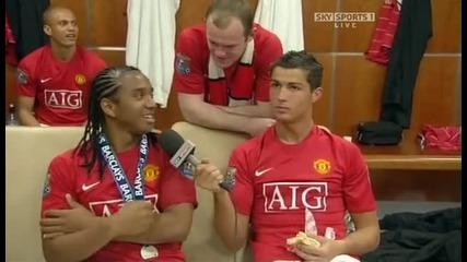 Кристиано Роналдо и Андерсон се ебават след като печелят Премиършип (много смях)
