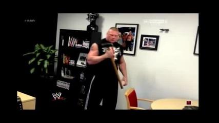 Брок Леснар разбива офиса на Трите Хикса