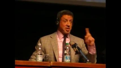Звездата Силвестър Сталоун на пресконференцията за филма си Куршум в Главата (2012) - част 2/2
