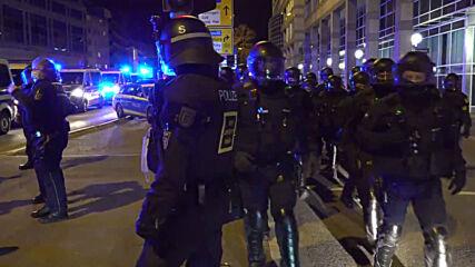 Germany: Police disperse demonstrators protesting curfew in Suttgart