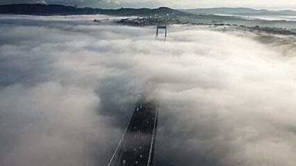 Turkey: Drone footage captures thick fog blanketing Bosphorus Bridge