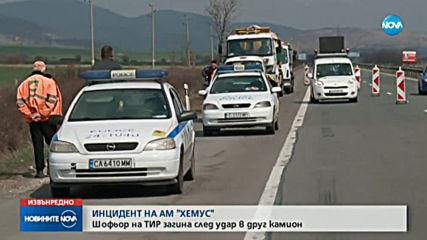 Шофьор загина при катастрофа между два тира