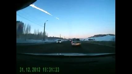 Метеорита в Сибир заснет от камера на автомобил! 15.02.2013